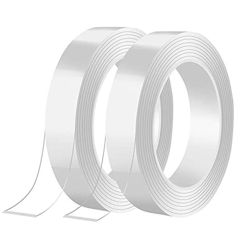 Entfernbares, Klebestreifen Doppelseitig, Transparent Nano Klebeband, 10M Doppelseitiges Klebeband Extra Starkes für Zuhause (20mm)
