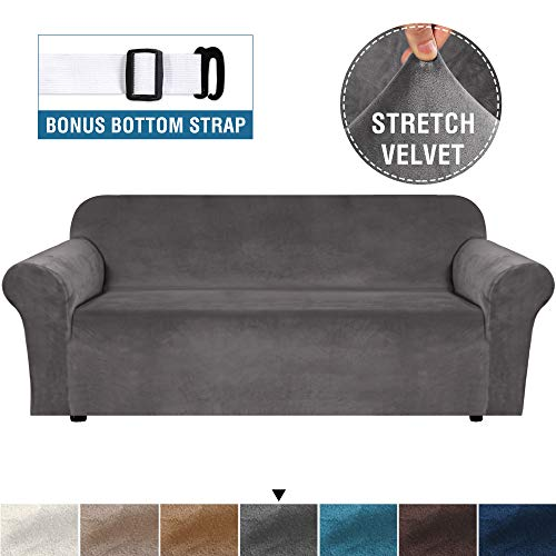 H.VERSAILTEX Stretch Sofa Cover Velvet Couch Cover Sofa Slipcovers for Three Cushion Sofas Furniture Cover Thick Soft Form Fit Slip Resistant Slip Covers Machine Washable (Sofa 72'-96', Grey)