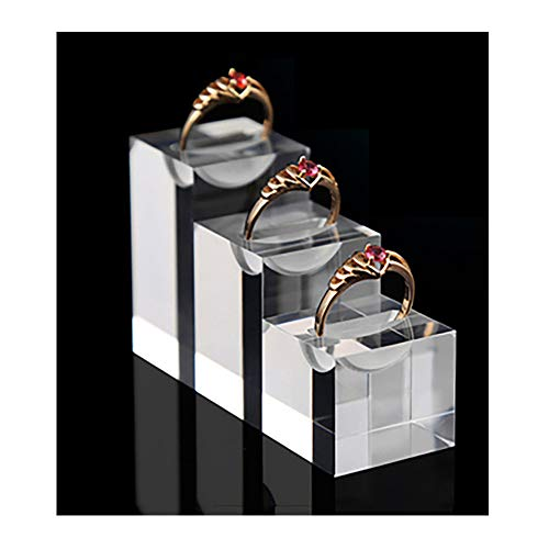 Clear Acrylic Display Stands for Rings High Grade Shiny Blocks Trade Show Exhibit Photo Props 3PC Set