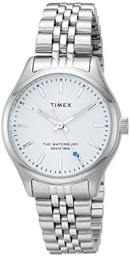 Timex Waterbury Neon - Reloj analógico de cuarzo de 34 mm, correa de acero inoxidable, color plateado, 16 casual (modelo: TW2U23400)