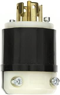 Leviton 2821 30 Amp, 277/480 Volt 3PY, NEMA L22-30P, 4P, 5W, Locking Plug, Industrial Grade, Grounding - Black-White