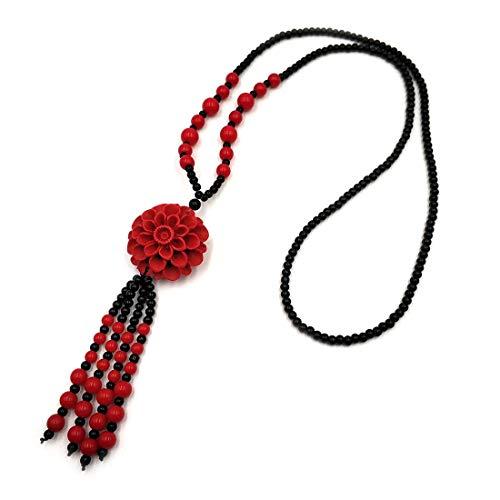 Collar largo con colgante de flor de abeja roja de cinabar para mujeres y niñas, de piedra natural con colgante, accesorios de ropa, 100% hecho a mano, arte femenino, moda