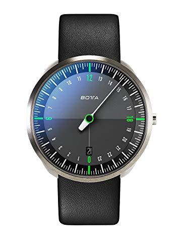 Botta-Design UNO 24 Titan Herren-24H-Einzeigeruhr Analog Schweizer Quarzwerk mit Lederarmband 420000 (40 mm, Schwarz/Grün)