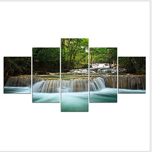Pintura Decorativa Moderna Cascada Verde Árbol Paisaje Impresión En Lienzo 5 Piezas...