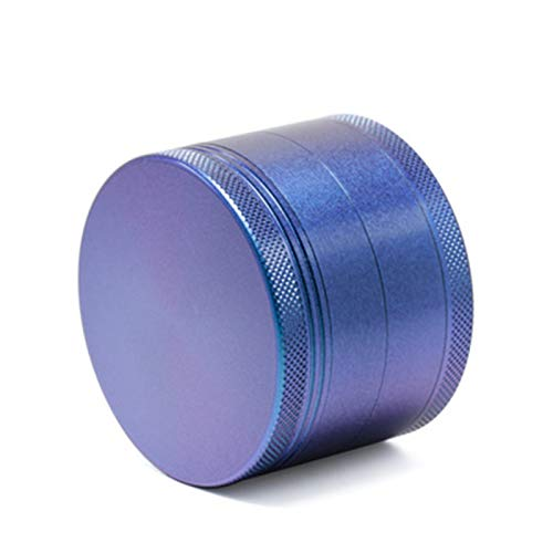 Herb Grinder 4 Pieces Aluminum Alloy Rainbow Color Spice Herb Grinder with Magnetic Lid Large Capacity Spice Grinder with Pollen ScraperBlue