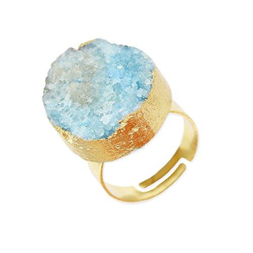 Anillo Druzy Agata ajustable redonda 20 mm dorado/Light Blue x1