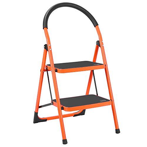 Luisladders 2 Step Ladder Anti-Slip Folding Stool Sturdy Steel Ladder 330lbs EN131 Lightweight with Handgrip Anti-Slip and Wide Pedal