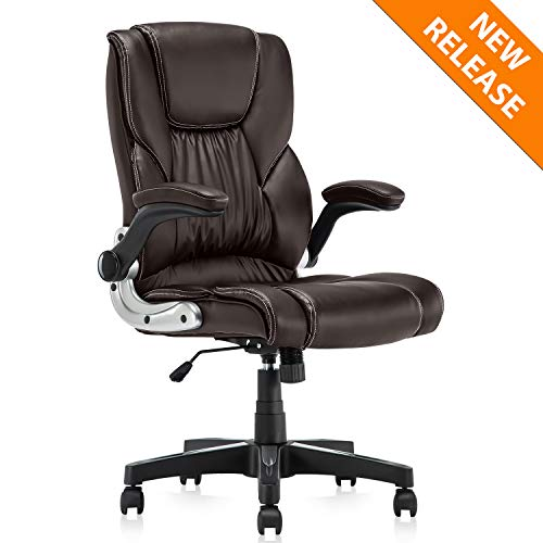 B2C2B Leather Executive Office Chair Brown Ergonomic Computer...