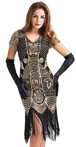Vestido estilo década de 1920 con cuentas, estilo vintage, con lentejuelas, adornado con flecos