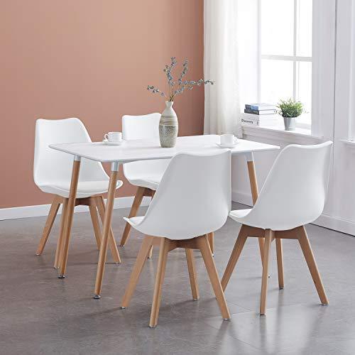 IPOTIUS Tavolo da Pranzo con 4 Sedie Moderno Set Sala da Pranzo, Tavolo Rettangolare e Sedie da Cucina Bianca