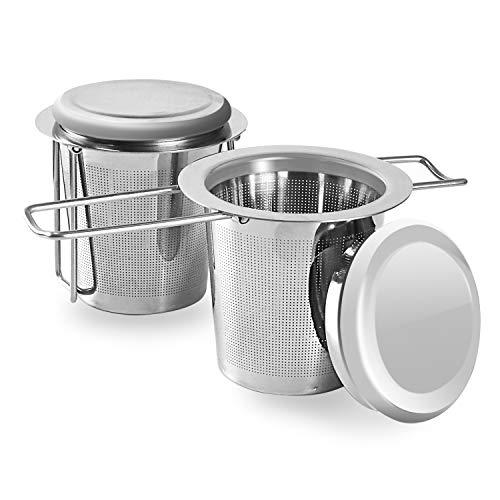 2 StückTeesieb Edelstahl aus Rostfreiem Stahl, EIN Teefilter mit Einklappbaren Doppelgriffen und Deckel zum Einhängen an Teekannen, Tassen