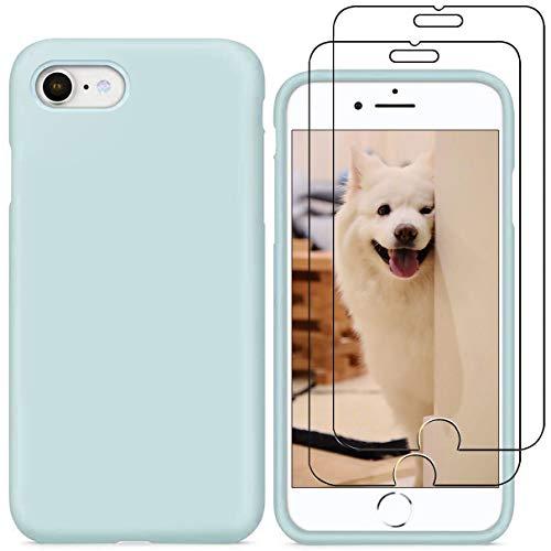 YiKaDa - Cover per iPhone SE 2020, Cover per iPhone 8/7, Custodia Liquid Silicone Leggero Cover Antiurto con Morbida Microfibra Fodera per iPhone SE 2020/8 / 7 (4.7 inch) - Verde Chiaro
