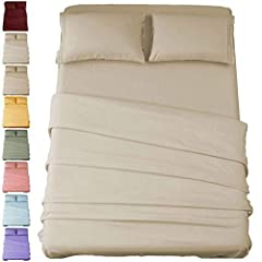 "Queen Size Luxury 4pc Bed Sheets Set - 1 flat sheet 90""x102"", 1 fitted sheet 60""x80""x16"",2 pillowcases 20""x30"".Deep pockets that fit mattresses up to 16"" deep with elastic around the fitted sheet. These sheets grip and fit better than any other sheet..."