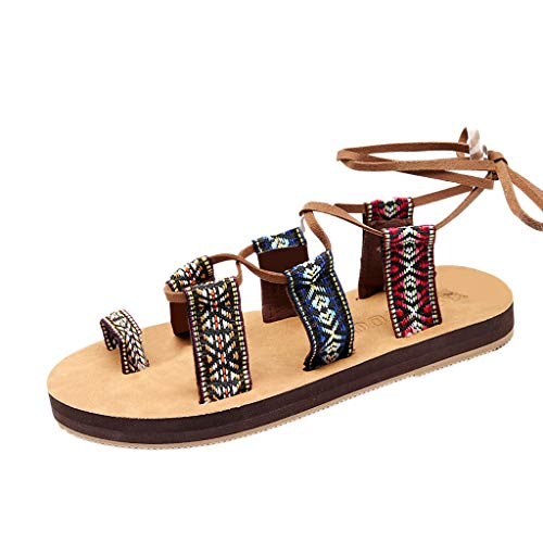 Great Features Of Fudule Women's Comfy Flat Sandal Straps Lace up Slide On Sandals Slippers Summer B...