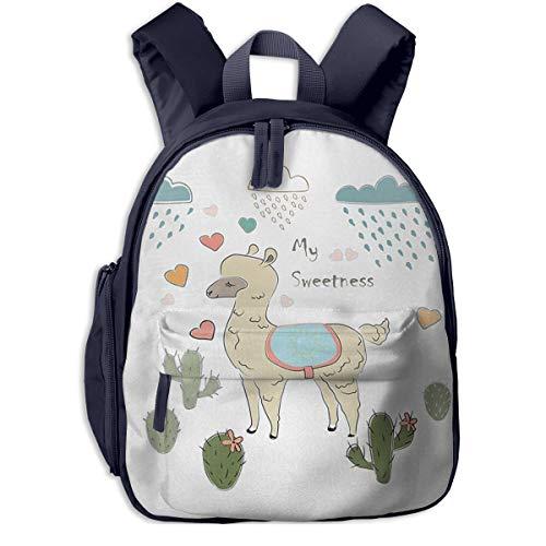Bolsa La Escuela Mochila con Alpaca Rain Cactus Trazos de Pincel Impermeable Mochilas para Niños Niñas