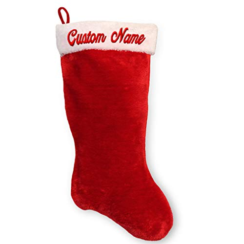 Christmas Stocking with CUSTOM PERSONALIZED NAME Embroidered Name - Quality Embroidery on Red Plush Stocking 17.5 in x 9 in