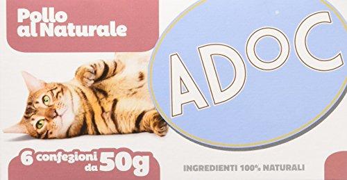 Adoc - Cibo Umido per Gatti Adulti con Ingredienti Naturali Pollo - 48 lattine da 50gr