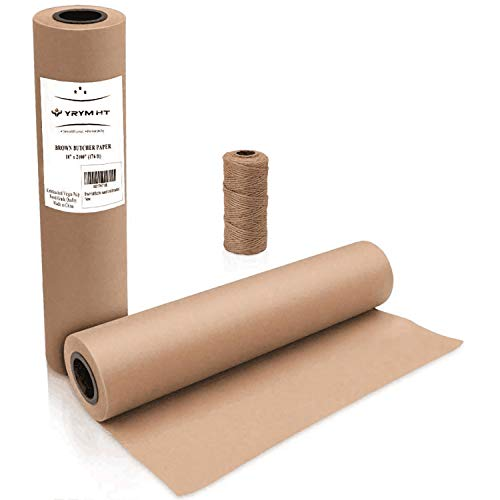 """Brown Kraft Butcher Paper Roll - Natural Food Grade Brown Wrapping Paper for BBQ Briskets,Smoking & Wrapping Meats,18"""" x 2100"""" (176 ft) - Unbleached Unwaxed and Uncoated"""