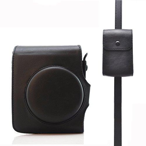 HelloHelio Retro Klassik Kunstleder Instax Kamera Vintage Kompakt Hülle für Fujifilm Instax Mini 90 Neo Sofortbildkamera mit Riemen,Schwarz Hülle mit Riemen