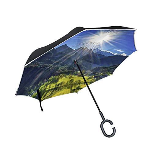 Rode dubbellaags omgekeerde wolkenhemel straalt de bosberg bergkristallen paraplu auto 's achterzijde, winddichte regenparaplu voor de auto buiten, met C-vormige handgreep.
