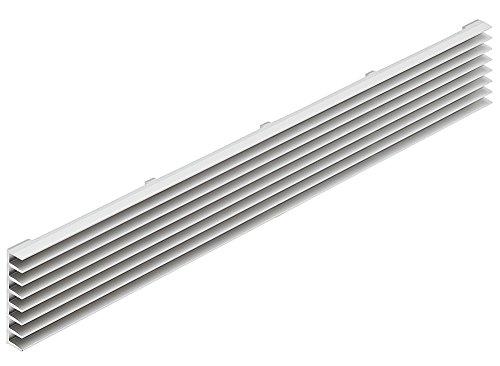 Lüftungsgitter Tür-Gitter Aluminium silber Abluftgitter mit schräg gestellten Lamellen | Belüftungsgitter eckig | Türlüftung 480 x 104 mm | MADE IN GERMANY | 1 Stück - Lüftungsblech für Türen - Möbel