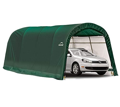 ShelterLogic Round Frame Garage-in-a-Box Foliengarage Foliengerätehaus 18,3m² // 300 x 610 x 240 cm grün Schuppen Garage