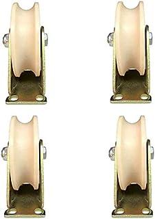 WaiMin (4 stks) U-vormige groef wiel nylon type spoor wiel plastic enkele katrol bewegende deur rijden roestvrij staal maa...