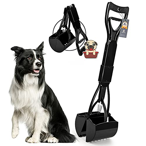 KHAZIX Non-Breakable Dog Pooper Scooper for Medium and Small Dogs, Long Handle Portable Pet Pooper Scooper, High Strength Materials & Durable Spring, Great for Lawns, Grass & Gravel