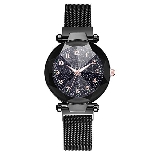 WXIAO Moda Mujeres Reloj De Pulsera Reloj Magnet Correa De Malla Reloj De Pulsera Aleación De Marcación Redonda (Negro)