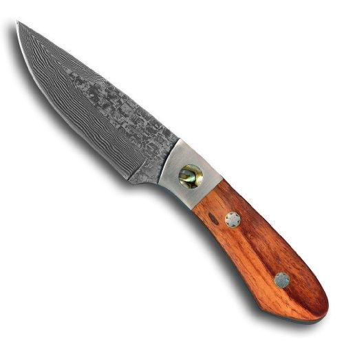1aTTack.de Taschenmesser Jagdmesser Outdoor Messer (19,6 cm) aus 67 Lagen Damaszener Damast Stahl - Outdoormesser Freizeitmesser Einhandmesser (Sammlerstück) mit Edelholz und Perlmutt Griff EinLagen