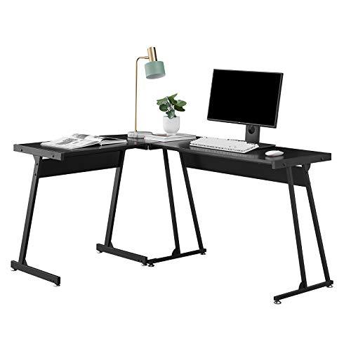 Escritorio multifunción en forma de L, color negro para juegos con almacenamiento y mesa de escritorio con marco de metal para muebles de oficina en casa, color negro