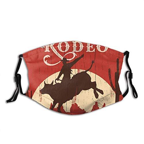 Gooeyokoi Mundschutz Gesichtsschutz Rodeo Cowboy Riding Bull Altes Holzschild Western WiWildnis bei Sonnenuntergang Waschbar Atmungsaktive Staubdicht Schutz Bandana Schal mit Filter