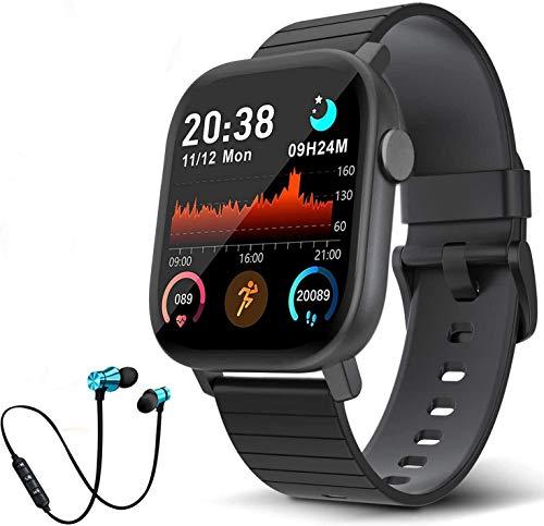 Smartwatch Orologio Fitness Tracker Uomo Donna, Impermeabile IP68 Smart Watch Cardiofrequenzimetro da Polso Contapassi Smartband Activity Tracker Bambini Cronometro per Android iOS (nero)