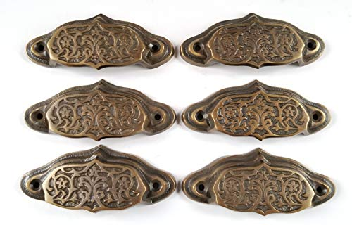 6 Ornate Apothecary Cabinet Drawer bin Cup Pull Handles VNTG. Style 3 1/2' #A4
