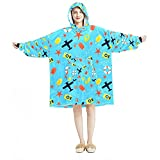 Manta con capucha, casual suave de microfibra, camisón cálido para hombres y mujeres, con paletas de viaje, cámara de estrellas de mar, diseños azules