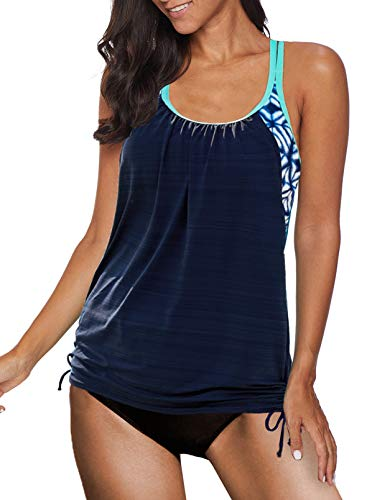 APOONABA Women Two Piece Swimsuit T Back Tankini Top with Shorts Swimwear Bathing Suits Two Piece Loose Fit Swimwear Navy Blue