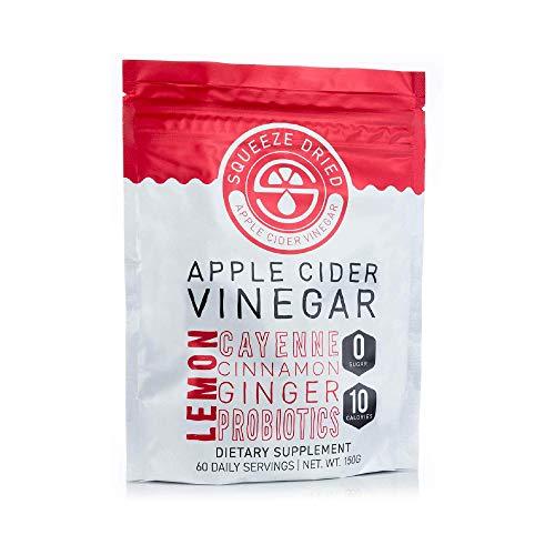 Squeeze Dried Apple Cider Vinegar: Natural Detox, Inflammation, Digestion & Circulation with Probiotics - 60 Serving Bulk Bag