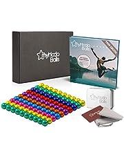 myHodo magnetkulor (8 färger) med gratis e-bok och premiumtillbehör, stressverktyg, anti-stress-presentidé, magnetbollar, extra stark supermagnet för magnettavlor och whiteboards (100 stycken, 5 mm)