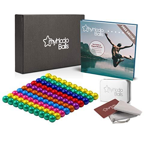 myHodo Magnetkugeln bunt (8 Farben) Set mit Gratis Ebook und Zubehör, 100 Stück, Stresskiller, Anti Stress Geschenkidee, Magnet Balls, extra Starke Mini Magnete (5mm) für Magnettafel und Whiteboard