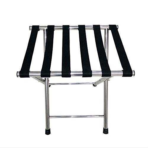 Lowest Price! Luggage Rack Durable Stainless Steel Chrome Folding Luggage Rack with Shelf (1 Pack), ...