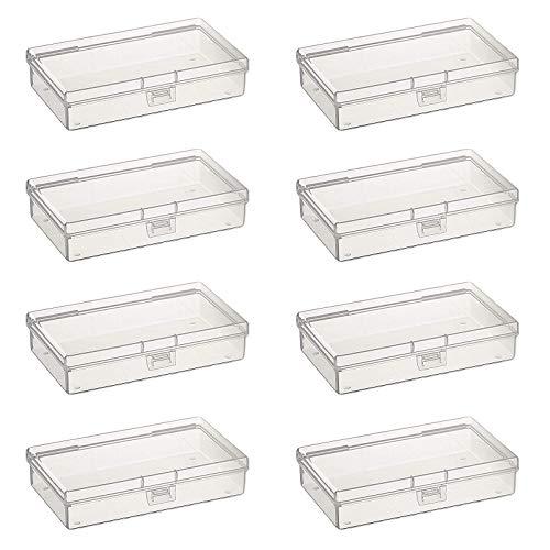 Goodma 8 cajas de almacenamiento rectangulares vacías de plástico transparente con tapa abatible para artículos pequeños y otros proyectos de manualidades (135 x 80 x 30 mm)