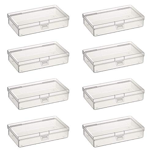 Goodma 8 Pieces Rectangular Empty Mini Clear Plastic Organizer Storage Box Containers with Hinged Lids for Small Items and Other Craft Projects (5.3 x 3.1 x 1.2 inch)