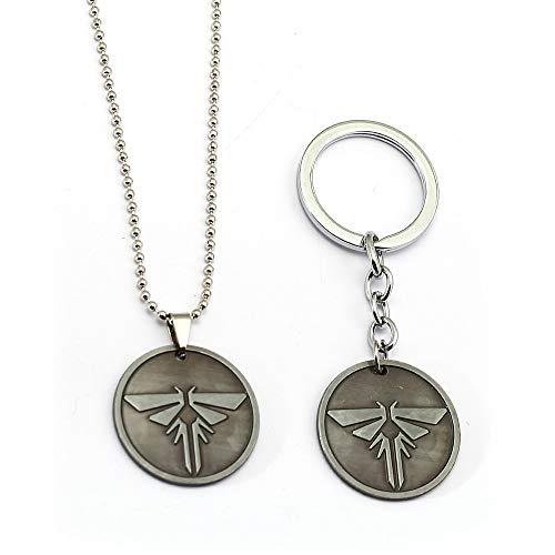 YUNMENG 2 Pc Le dernier d'entre Nous Porte-clés étiquette en métal Collier Perles chaîne Alliage Porte-clés Pendentif Hommes Porte-clés Chaveiro Jeu Bijoux