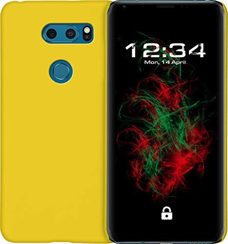 Baluum Hardcase gummierte gelbe Hülle für LG V30/V30S ThinQ Schutzhülle Hülle Cover Handyhülle Backcover Hartschale aus robusten Kunststoff