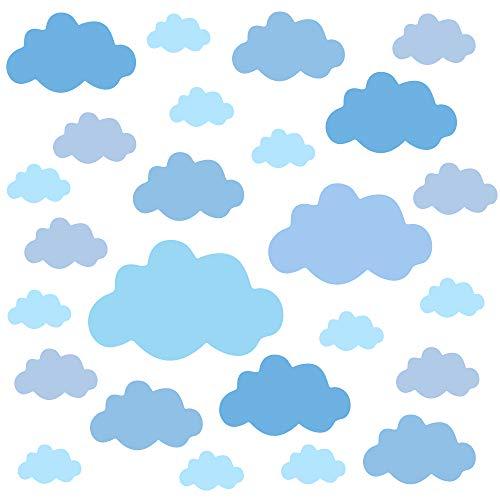 PREMYO 25 Nubes Pegatinas Pared Infantil - Vinilos Decorativos Habitación Bebé Niños - Fácil de Poner Azul Pastel