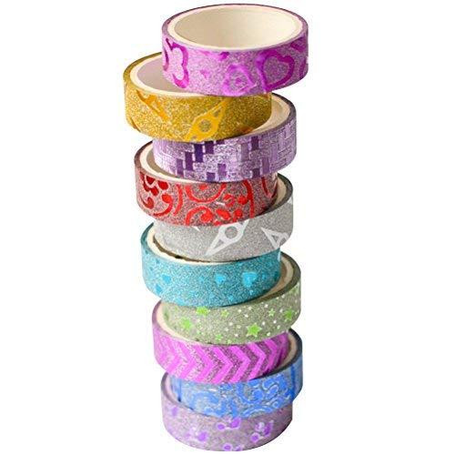 TOYMYTOY 10 Rotoli di Nastro Washi Tape Set Decorativo Nastro Adesivo Glitter Washi Tape per Artigianato e regali