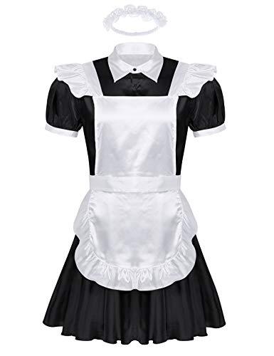 iEFiEL Herren Sissy Dessous Dienstmädchen Kostüm Männer Satin Lolita Kleid Hausmädchen Kostüm Set Faschingskostüm Karneval Party Schwarz XXL