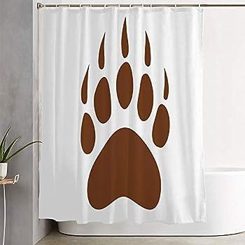 Mehennne Fabric Bath Shower Curtain for Bathroom Brown Paw Bear Claws Footprint Polar Panda Asian Foot Simple Tattoo Wild Grizzly Fur Giant Animal Waterproof Shower Curtain with Hooks 72 x 72 Inch