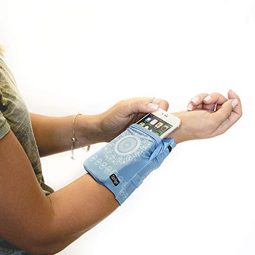 Sprigs Banjee Handgelenktasche Armband 2 Taschen Handytasche Fitness Sport Stretch Wrist Pocket, 552, Farbe Himmelblau