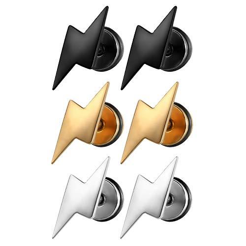 Aroncent - 3 pares de pendientes de tuerca de acero inoxidable para hombre y mujer, con rosca trasera